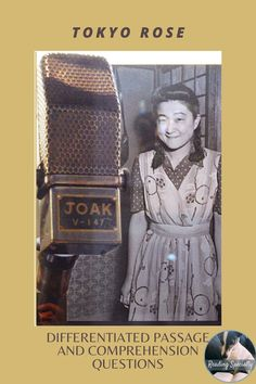 Tokyo Rose was a name used by Allied troops during World War II when talking about female English-speaking radio broadcasters. The programs were broadcast in the South Pacific and North America to bring down morale of the troops. The Japanese propaganda emphasizing wartime difficulties and military losses. Students read the passage and answer comprehension questions to check their understanding. Reading Comprehension Passages, Comprehension Questions, Middle School History, High School, Example Of Biography, Passage Writing, Teacher Introduction, Tokyo Rose, Student Reading