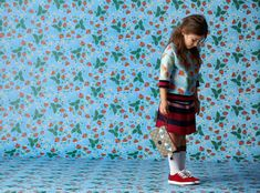 Signature mash up of floral and stripes for Gucci Kids spring 2016 collection