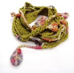 Freeform Leaves Hand croheted Scarf with tufted by HEraMade, $56.90