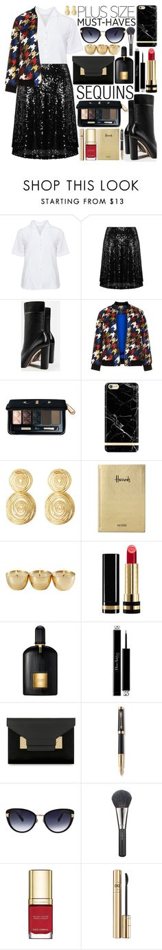 """""""Plus Size Fall Must Haves"""" by gorgeautiful ❤ liked on Polyvore featuring Eterna, navabi, Gola, Manon Baptiste, Christian Dior, Richmond & Finch, Gas Bijoux, Harrods, Gucci and Tom Ford"""