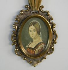Vintage portrait in brass frame with velvet ribbon by FeliceSereno, $45.00