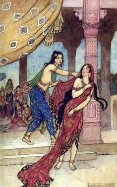 """Illustration """"The Ordeal of Queen Draupadi"""" from """"Indian Myths and Legends"""" by Donald A. Mackenzie and illustrated by Warwick Goble, published 1913 Children's Book Illustration, Illustrations, Warwick Goble, 7 Arts, Hindu Art, Arabian Nights, Indian Paintings, Art Plastique, Antique Art"""