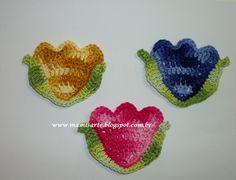 Crochet et Tricot da Mamis: Tulipa com folha em crochet para aplique- Gráfico e Receita