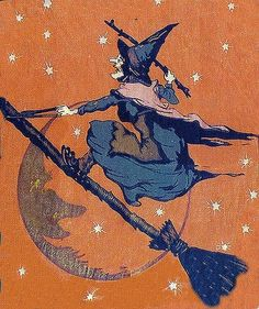 "halloween vintage witch on broom A charming Erla Young Halloween illustration from ""My picture Book of Songs,"" pub. Vintage Halloween Cards, Halloween Pictures, Halloween Outfits, Holidays Halloween, Spooky Halloween, Halloween Crafts, Happy Halloween, Halloween Costumes, Halloween Stuff"