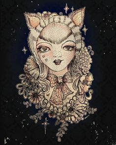 Forest cat hides in the shadows and flowers. Fantasy Male, Forest Cat, Enchanted, Mythology, Revolution, Amanda, Drawings, Cats, Prints