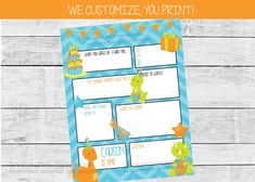 Boy dinosaur first birthday time capsule by Pretty Printables Ink. Capture fun memories for your little one with our printable birthday time capsule! We customize the name, age and questions for you #firstbirthdaypartyideas #boyfirstbirthday #firstbirthdaytimecapsule #1stbirthdaytimecapsule #dinosaurbirthday #dinofirstbirthday #boyfirstbirthdayideas Dinosaur First Birthday, Boy First Birthday, First Birthday Parties, First Birthdays, Kids Birthday Party Invitations, Birthday Party Themes, Party Activities, Time Capsule, Diy For Kids