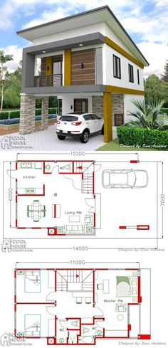 Two Storey House Plan with 3 Bedrooms & Garage storey House Design Two Storey House Plan with 3 Bedrooms & Garage Loft House Design, 3 Storey House Design, Bungalow Haus Design, Classic House Design, Village House Design, Minimalist House Design, Small House Design, Modern House Interior Design, Modern Bungalow Exterior