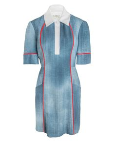 Fendi Denim Print Cadi Dress Cerulean dress in a denim print featuring contrast red seam details Spread collar Short sleeves Front button closure Hidden side zip closure Front angled pockets Tailored silhouette 100% viscose Made in Italy