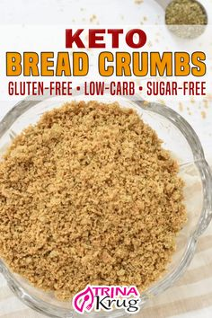 Looking for a tasty, low-carb replacement for breadcrumbs that doesn't use pork rinds? These 4-ingredient Keto breadcrumbs with a hemp heart base are just what you need to add a healthy crunch to any dish! If you've been sorely missing these as part of your meals, I have good news for you… these keto breadcrumbs are beyond tasty and 100% low carb approved! | Trina Krug @trinakrug #ketobreadcrumbs #homemadeketobreadcrumbs #lowcarbbreadcrumbs #healthybreadcrumbs #glutenfreebreadc Diet Dinner Recipes, Keto Dinner, Diet Recipes, Healthy Recipes, Ketogenic Recipes, Diabetic Recipes, Healthy Cooking, Cooking Tips, Healthy Food