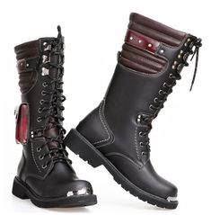 Rebelsmarket british leather military combat motorcycle pu leather lace up buckle boots boots 5