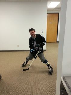 Michael ready to play on some hockey on Halloween.