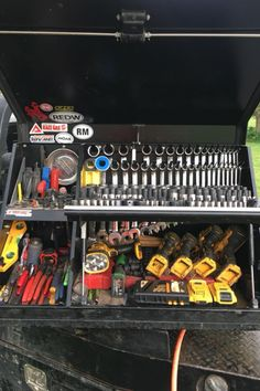 """Best toolbox made hands down, use mine everyday. Makes organization easy."" - Tyler C. Garage Storage Units, Garage Organization Tips, Garage Storage Solutions, Tool Storage, Welding Trucks, Welding Rigs, Truck Tools, Truck Tool Box, Custom Truck Beds"