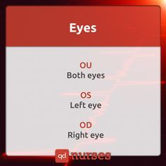 Know your documentation of eyes. You should know what they mean. For example, OD…