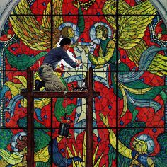 """Giclee Print: """"Repairing Stained Glass"""" Saturday Evening Post Cover, April by Norman Rockwell : Norman Rockwell Prints, Norman Rockwell Paintings, The Saturdays, Stained Glass Church, Saturday Evening Post, Art Reproductions, American Artists, Welsh, Framed Artwork"""