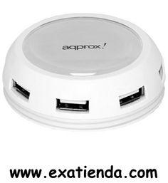 Ya disponible Hub Approx 7 ptos blanco USB 2.0 apph7pwv2   (por sólo 18.99 € IVA incluído):   -Concentrador de 7 puertos USB, de diseño compacto en forma circular.  -Hub de 7 puertos USB -Velocidad máxima: hasta 480 Mbps -7 puertos USB y conector USB 2.0 -Regulador de voltaje integrado. -Plug and Play -Diseño funcional y compacto con indicador LED de color.  -P/N: APPH7PWV2 Garantía de 24 meses.  http://www.exabyteinformatica.com/tienda/1064-hub-approx-7-ptos-blanco-u