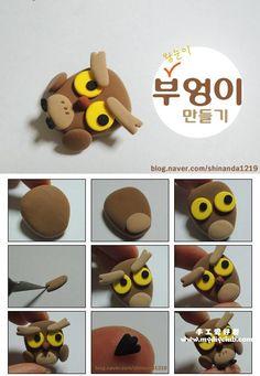 Modelage d'un hibou - Fimo, Cernit et accessoires : http://www.creactivites.com/236-pate-polymere