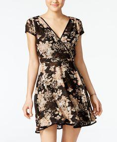 cce9f8290bd0 Teeze Me Juniors  Printed Fit   Flare Wrap Dress   Reviews - Dresses -  Juniors - Macy s
