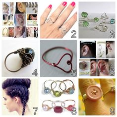 DIY Roundup 9 Wire Jewelry Tutorials Ive posted. Part 1. I post a lot of wire wrapped jewelry because wire is really cheap and easy to manipulate and the perfect summer craft. Roundup of Nine DIY Ear Cuffs I've posted here. Wire Heart Ring Tutorial by I Spy DIY here. Dainty Wire Wrapped Ring Tutorial from Wobisobi here. Black Bead Wire Wrapped Ring Tutorial from Around Wire here. Wire Heart RIng Tutorial from Maize Hutton here. Wire Ear Cuffs from Basic to Advanced from Shealynn's Faerie…
