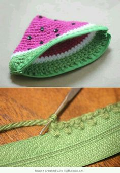 "crochet - easy attaching zip to projects and detailed instructions for this cute change purse starting at the zip - magic! Devofare: [ ""Detailed instructions for this cute crochet melon purse starting at the zip - magic! Love Crochet, Diy Crochet, Crochet Hooks, Crochet Coin Purse, Crochet Purses, Crochet Bags, Crochet Change Purse, Crochet Wallet, Knitted Bags"