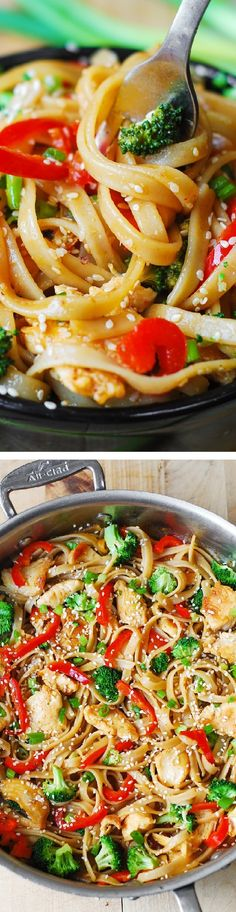 (Asian) Sesame Chicken & Noodles in a homemade Asian sauce – delish and easy-to-make! Thinly sliced bell peppers, blanched broccoli, grilled or seared chicken, toasted sesame seeds.