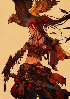Fantasy art illustration, warrior girl and eagle book deadpool, swords, samurai Fantasy Character Design, Character Design Inspiration, Character Concept, Character Art, Concept Art, D D Characters, Fantasy Characters, Manga Art, Anime Art