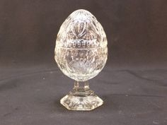 Vintage AVON Crystalglow Glass Egg Shaped Footed Candle Holder Trinket Box List Price $9.99 + 7.50 sh