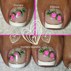 Uñas pies Cute Toe Nails, Toe Nail Art, Pedicure Designs, Toe Nail Designs, Kathy Nails, Cute Pedicures, French Pedicure, Magic Nails, Nails Tumblr