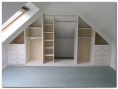 Angled ceilings don't have to restrict storage space! Angled ceilings don't have to restrict storage space! :]… Angled ceilings don't have to restrict storage space! Small Attic Room, Small Attics, Small Room Bedroom, Small Rooms, Diy Bedroom, Small Spaces, Trendy Bedroom, Attic Playroom, Kids Rooms