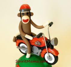 Motorcycle Sock Monkey Cake Topper by SpiritMama, via Flickr