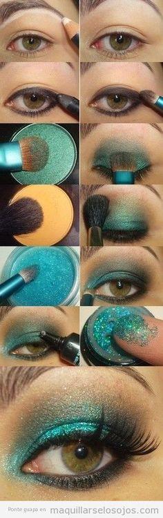 Tutorial con fotos paso a paso para aprender cómo maquillarse los ojos con purpurina