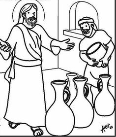 Wedding At Cana Coloring Pages Nativity Coloring Pages, Bible Coloring Pages, Coloring Sheets, Bible Lessons For Kids, Bible For Kids, Jesus Drawings, Sunday School Coloring Pages, Miracles Of Jesus, Water Into Wine