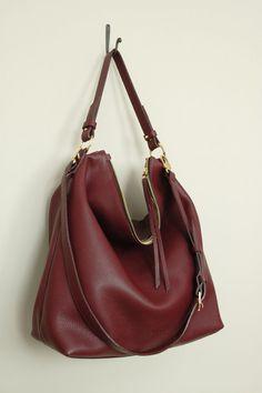 Sac Hobo en cuir Bourgogne, haut poignée sac, sac en cuir italien galets, grand sac bandoulière « Ava Hobo Bag »