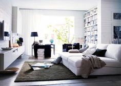 Ideas for extra deep couch. This is three chaises (IKEA) lined up. Ikea Living Room, Living Spaces, Living Rooms, Ikea Kivik, Ikea Lounge, Deep Couch, Big Couch, Design Ikea, Hemnes