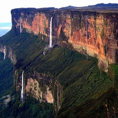 Mount Roraima, Brazil  The flat-faced tepui, or tabletop mountain, spans three countries' borders in South America: Brazil, Venezuela, and Guyana.