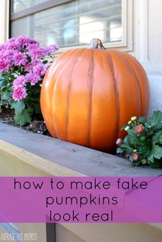 Love this! Make fake pumpkins look real with a little bit of paint! Use them year after year and keep the squirrels away!