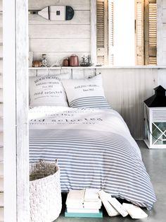 Inspiration pour un lit marin ! Housse de couette 220X240 cm + 2 taies d'oreiller AIR MARIN - BUT