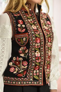 Embroidered vest Black pearl hand made vest hand embroidery black short vest bohemian suede vest ethnic women vest warm short vest  Embroidered vest - my incredibly beautiful gorsik, buzrukavka or kamizelka. The winter season is not a reason to abandon the stylish wardrobe. This Wool Embroidery, Embroidery Fashion, Embroidery Dress, Embroidered Blouse, Kurta Designs, Blouse Designs, Ethnic Fashion, Boho Fashion, Blouse En Lin