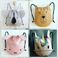 Sewing For Kids, Baby Sewing, Sewing Tutorials, Sewing Projects, Bag Tutorials, Diy Sac, Animal Bag, Patchwork Bags, Japanese Patchwork