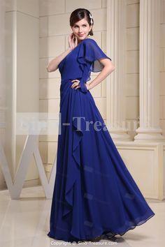 Royal Blue Chiffon One Shoulder A-line Floor-length Bridesmaid DressWholesale Price: US$134.99