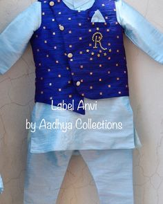 To order whatsapp us we will customize any type of kids wear as per your requirement Long Dress Design, Light Blue Dresses, Kids Wear, Traditional Outfits, Designer Dresses, Baby Boy, Boys, How To Wear, Label