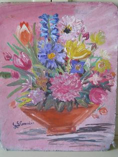 Fabulous Fatigued French Vintage Oil On Board by VintageFrenchFinds, $85.00
