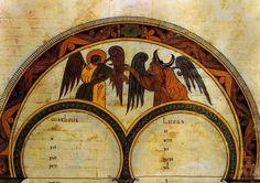 Biblia de San Isidoro de León (s. X). Representación de San Mateo y San   Lucas. Fol. 400 r. (Foto Manuel Viñayo).
