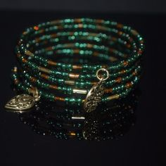 Emerald and gold czech memory wire charm bracelets