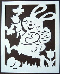 """Window picture filigree cardboard """"rabbits"""" 2 parts Easter – Towel Ideas 2020 Birthday Chart Classroom, Birthday Charts, Embroidered Towels, Paper Cutting, Cut Paper, Rabbit, Easter, Window Picture, Decor"""