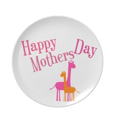 Happy Mothers Day Giraffes Plate