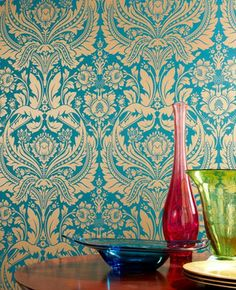 Teal and gold wallpaper - Graham and Brown - Grand damask design made modern with bold feshio lead colorways