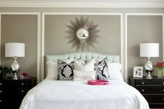 love the statement wall, good master bedroom idea