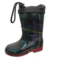 Boutaccelli Classica Unisex RB004 Green Plaid Child Rubber Rain Boot (2 M US Big Kids, Green Plaid). Rubber rain boot. Fashionable Green Plaid with red sole. Laces on the top. Bungee Closure. Use for snow and rain.