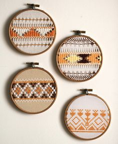 RESERVED for Emma B, Mix Match set of 4 vintage tangerine embroidery wall art hoops. $86,40, via Etsy.