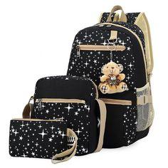 Women Teen Casual Canvas Travel Bags Girl Kids School Backpack Shoulder Rucksack
